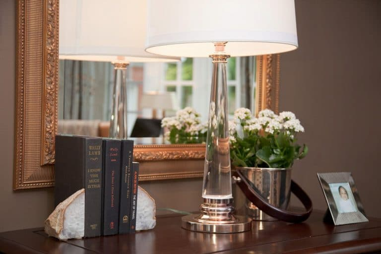 Tabletop, glass table lamp and gold antique mirror