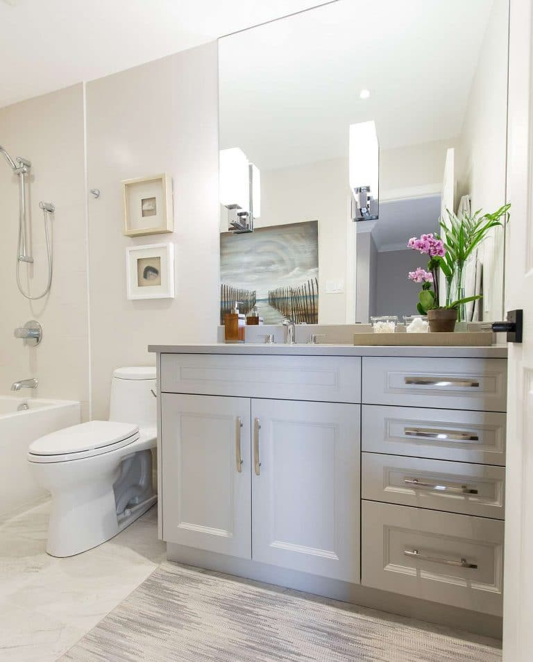 Bathroom cabinet and toilet with grey carpet and marble floor