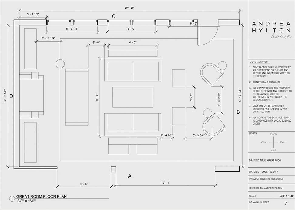 Floor layout of open concept plan